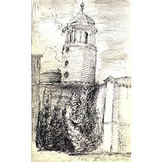 Modernist Tower Sketch 1940-60s For Sale