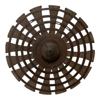 Vintage Wood and Iron Loom Wheel For Sale