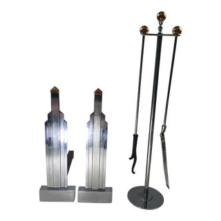 1930s Jules Bouy Art Deco Chrome and Copper Andirons and Firetools by Jules Bouy For Sale