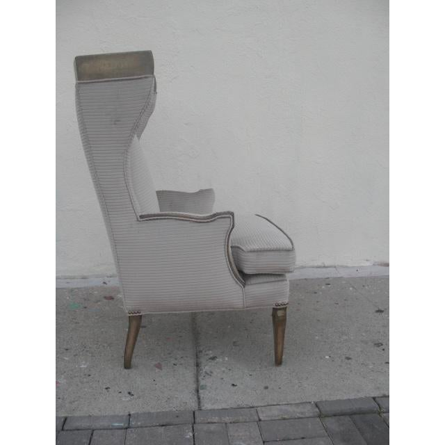 Mid-Century Modern 1960s Vintage Custom Upholstered Monumental Wingback Chair For Sale - Image 3 of 10