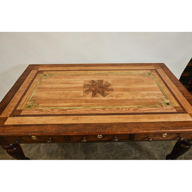 English Oak Writing Table With Inlaid Top For Sale - Image 4 of 9