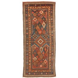 Antique Russian Rug With Rustic Colored Diamond Details on Green Field For Sale