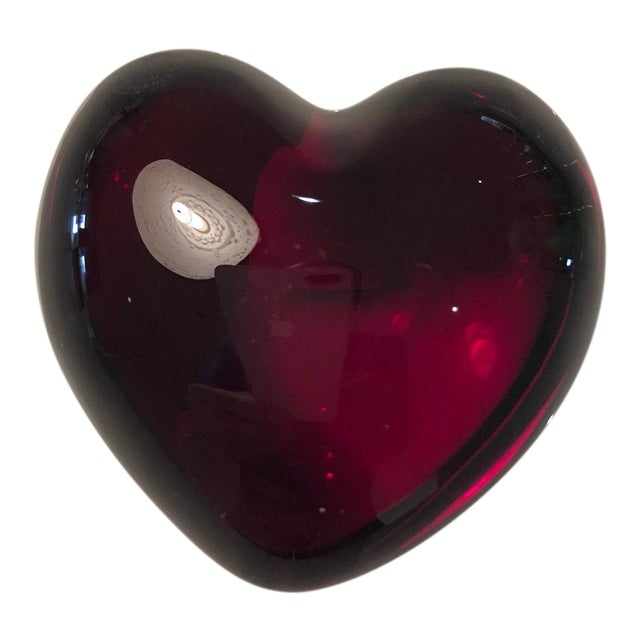 Bacarrat Ruby Heart Paper Weight For Sale