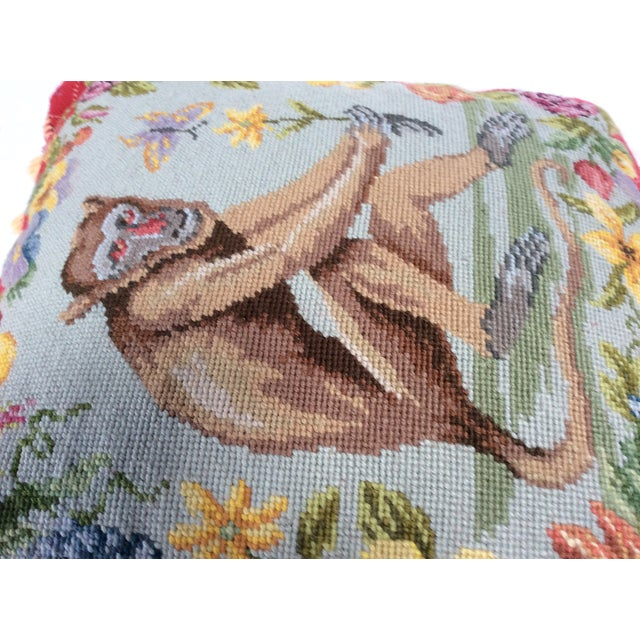 Traditional Needle Point Monkey Pillow - Image 4 of 6