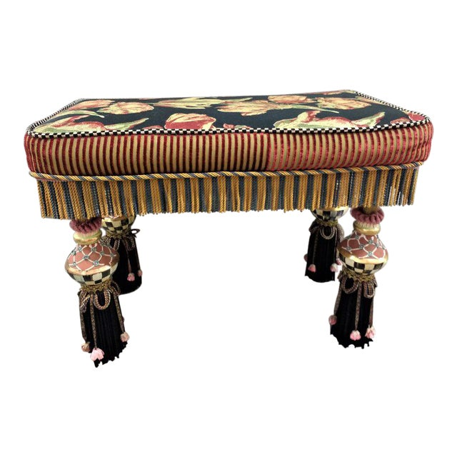 1980s Vintage MacKenzie Childs Boho Chic Bench For Sale