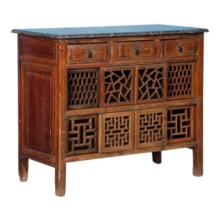 Antique Marble Top Chinese Lacquer Sideboard For Sale