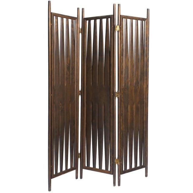Brown Midcentury Walnut Screen For Sale - Image 8 of 8