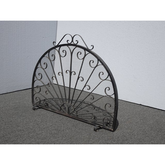 Vintage Spanish Style Black Metal Fireplace Screen W Scrolls For Sale - Image 4 of 13