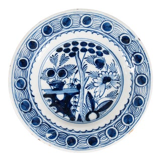 18th-Century Antique Dutch Delft Floral Plate For Sale