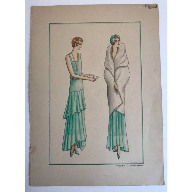 1920s Twelve Fashion Designs by University of Washington Student, 1929 For Sale - Image 5 of 13
