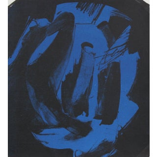 Abstract Print in Blue and Black 1997 Lithograph For Sale