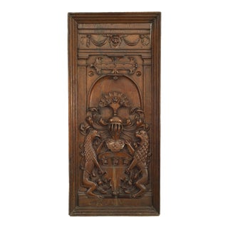 Italian Renaissance Carved Oak Coat of Arms For Sale