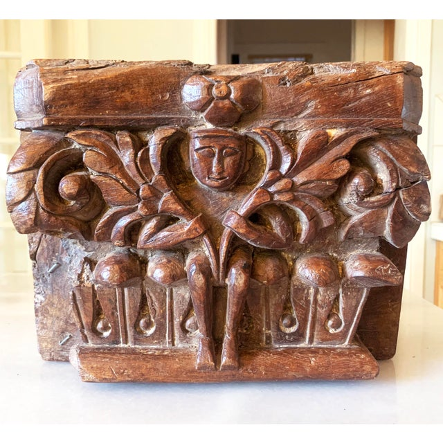 1860's Anglo Indian Carved Teak Architectural Half Pillar Pilaster Capital Column Top .This column pilaster features a...