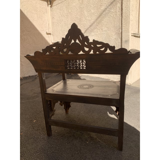 Wood Vintage Mother of Pearl Inlay Morrocan Bench For Sale - Image 7 of 12