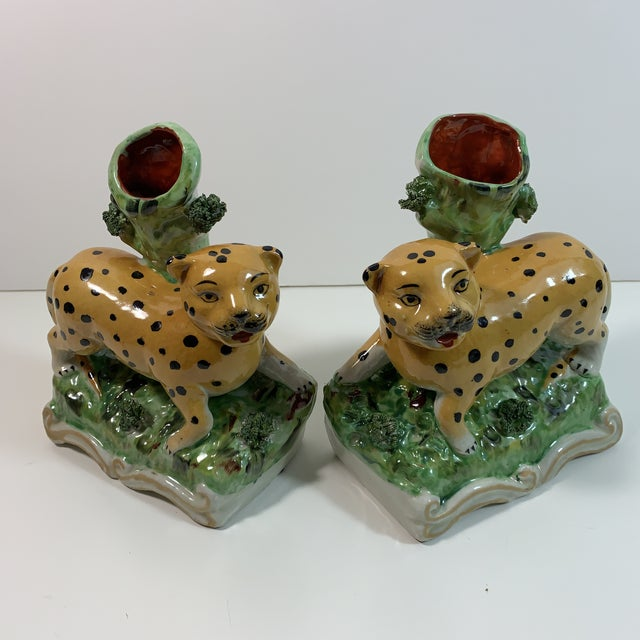 Vintage Staffordshire Style Leopard Spill Vases - a Pair For Sale - Image 11 of 11