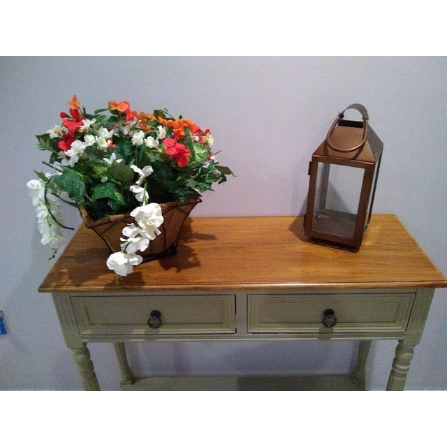 Console, entryway, hallway, or sofa table has a great farmhouse look in painted khaki base with top in stained antique...