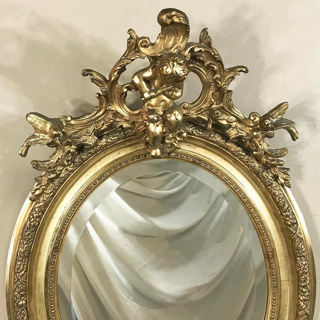 19th Century French Louis XV Gilded Mirror With Cherub For Sale In Baton Rouge - Image 6 of 11
