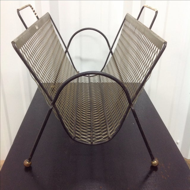 Fredrick Weinberg Black & Gold Mesh Magazine Rack For Sale - Image 4 of 5