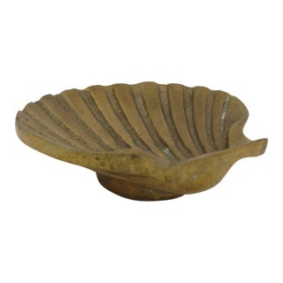 1970s Nautical Solid Brass Shell Dish For Sale