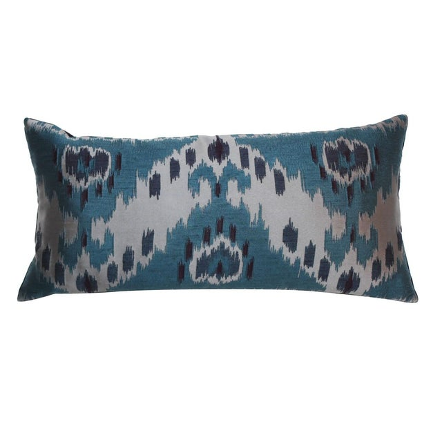 Teal Ikat Lumbar Pillow - Image 1 of 4