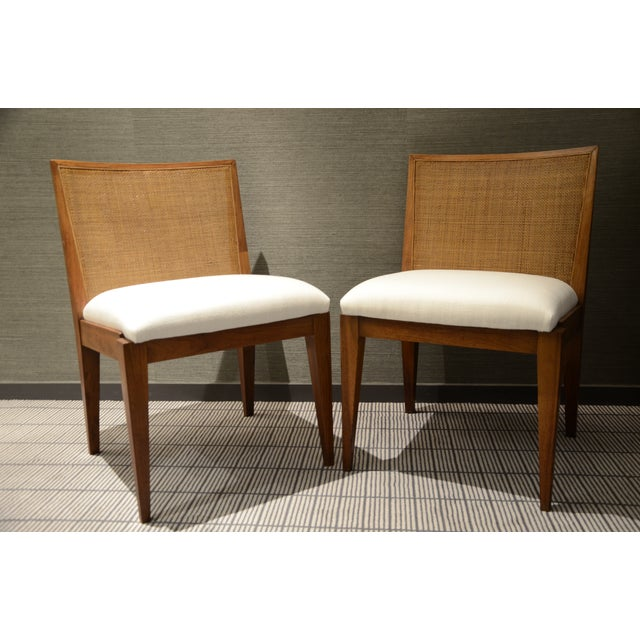 Edward Wormley Caned Back Linen Chairs - Pair - Image 3 of 5