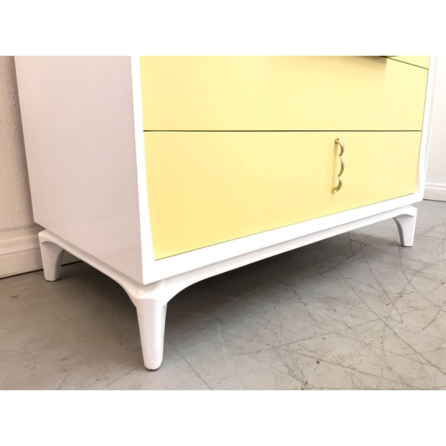 White 1970s Mid Century Modern White Yellow Lacquered Highboy Dresser For Sale - Image 8 of 9