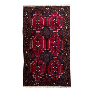 Geometric Tribal Hand-Knotted Rug - 3′8″ × 6′8″ For Sale