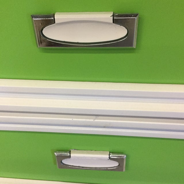 1970s Mid Century Lime Green & White Lacquer Night Stands For Sale - Image 5 of 10