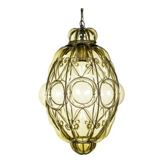 Italian Iron Wire & Blown Glass Pendant For Sale