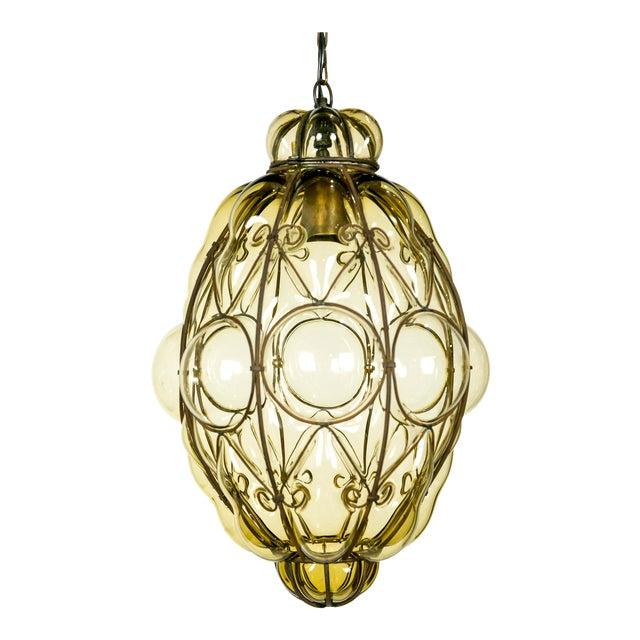 Italian Iron Wire & Blown Glass Pendant For Sale