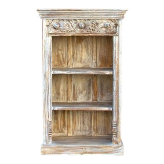 Whitewash Carved Bookcase For Sale