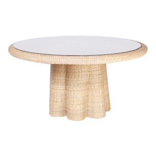 Round Wicker Dining Table With a Ghost Drapery Base For Sale