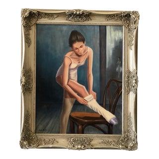 Vintage 1970s Ballerina Portrait Painting by Angelo Hazifotis, Framed For Sale