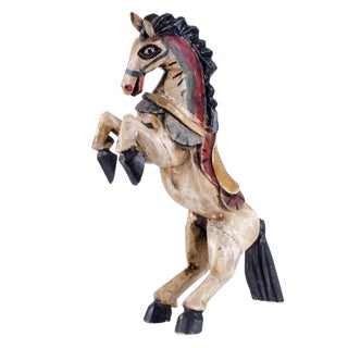Vintage Painted Wood Rearing Horse Figurine For Sale