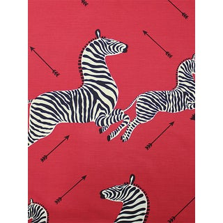 Sample, Scalamandre Zebras, Masai Red Fabric For Sale