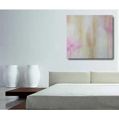 Posey Abstract Painting Gallery Wrapped Canvas Square Pink Gold Soft Modern Art - Image 2 of 3