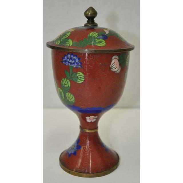 Vintage Red Cloisonne Urn with Lid - Image 2 of 6