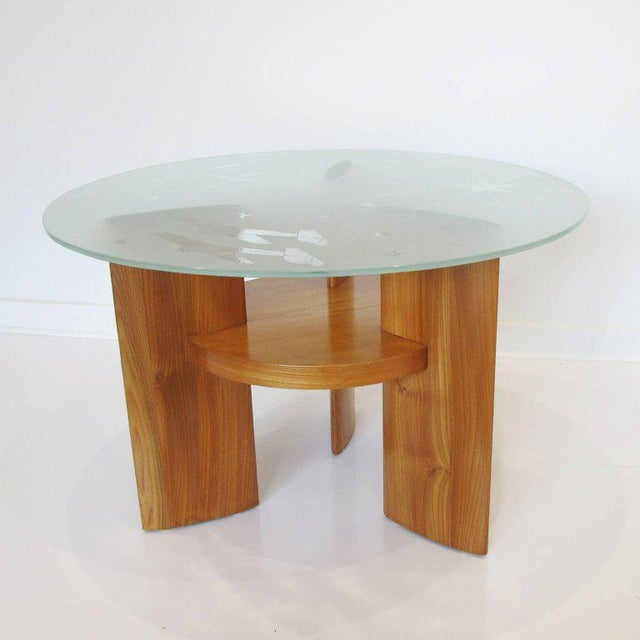 Art Deco Saint Gobain Glass-Top Etched Aviation Coffee Table - Image 2 of 11