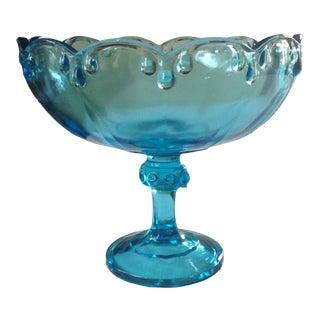 1960s Vintage Blue Glass Pedestal Bowl For Sale