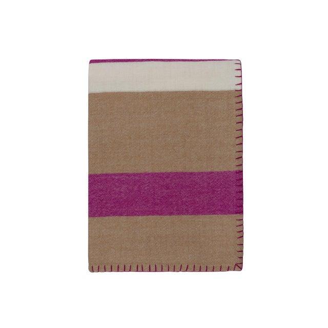 100% Baby Alpaca Block Stripe Throw, Camel/Raspberry For Sale