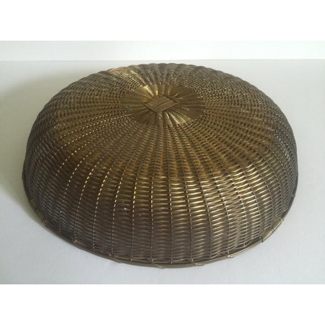 Vintage 1940's Brass Hand Woven Large Round Rustic Metal Basket - Image 11 of 11