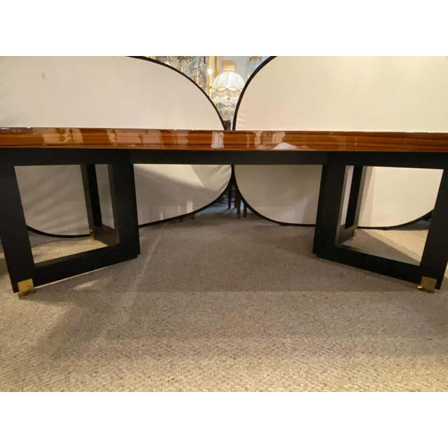 Mid-Century Modern Lorin Marsh Dining Conference Table Smorgasbord Lacquered Zebra-Wood and Brass For Sale - Image 3 of 12