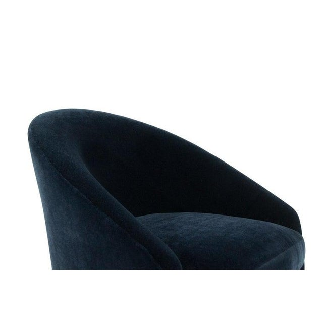 Textile Adrian Pearsall for Craft Associates Swivel Chairs in Deep Blue Mohair For Sale - Image 7 of 12