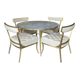 Vintage Mid Century Billy Haines Brass Cocktail Table & Chairs- 5 Pieces For Sale