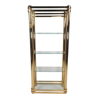 Mid-Century Modern Brass and Glass Etagere For Sale