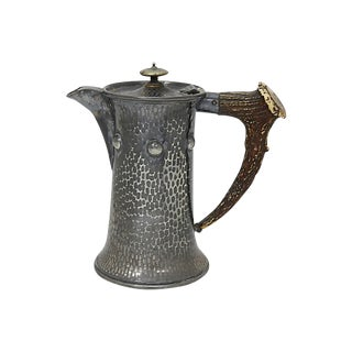 Arts & Crafts Pewter & Wine Horn Pitcher For Sale