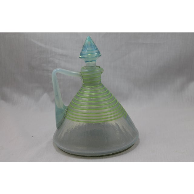 Art Deco Art Deco Era Frederick Carder's Steuben Opalescent Threaded Art Glass Decanter For Sale - Image 3 of 11