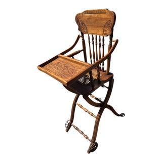 Vintage Antique Oak High Chair For Sale