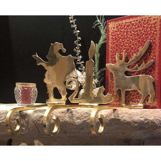 Metal Vintage Brass Stocking Hooks Santa, Reindeer and Candle Hangers - Set of 3 For Sale - Image 7 of 12