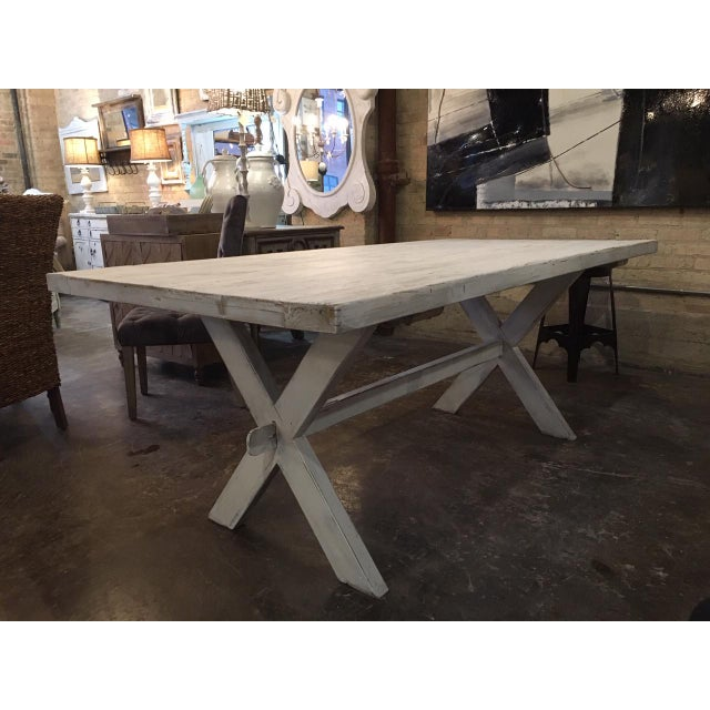 Shabby Chic White Distressed Farmhouse Dining Table For Sale - Image 10 of 10